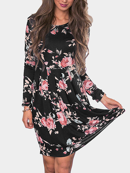 Yoins Black Random Floral Print Round Neck Knee Length Dress