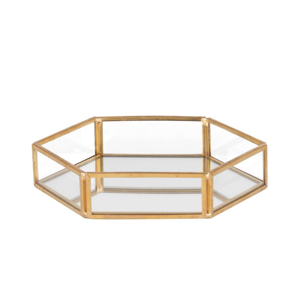 Schmuckschatulle, sechseckig, aus goldenem Metall und mit Spiegel