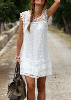 Solid Lace Tassel Splicing Mini Dress - White