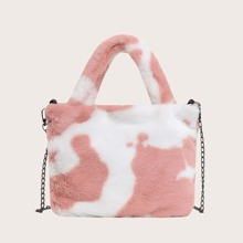Cow Pattern Fluffy Tote Bag