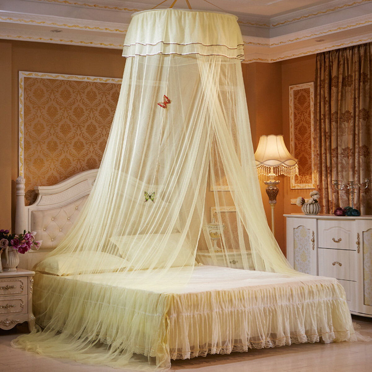 Ceiling Dome Large Mosquito Net Bed Canopy Maximum Insect Net Protection No Skin Irritation