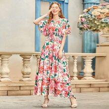 Floral Print Frill Trim Layered Hem Dress