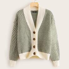 Button Up Striped Sweater Coat