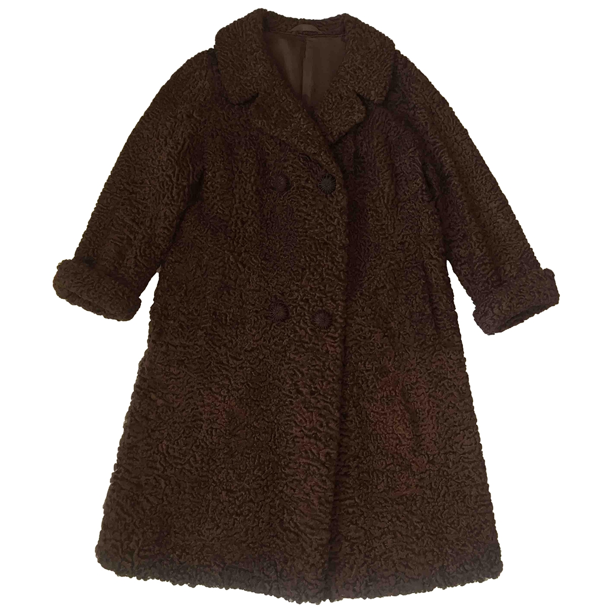 Non Signé / Unsigned \N Brown Astrakhan coat for Women M International