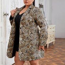 PU Leder Blazer mit Leopard Muster und Knopfen