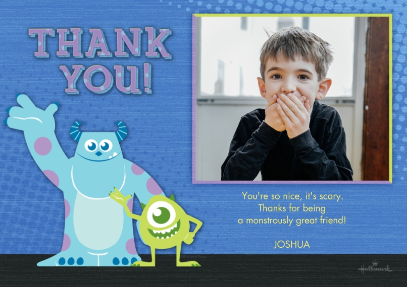 Kids Thank You Cards Flat Matte Photo Paper Cards with Envelopes, 5x7, Card & Stationery -Thank You - Monsters, Inc.