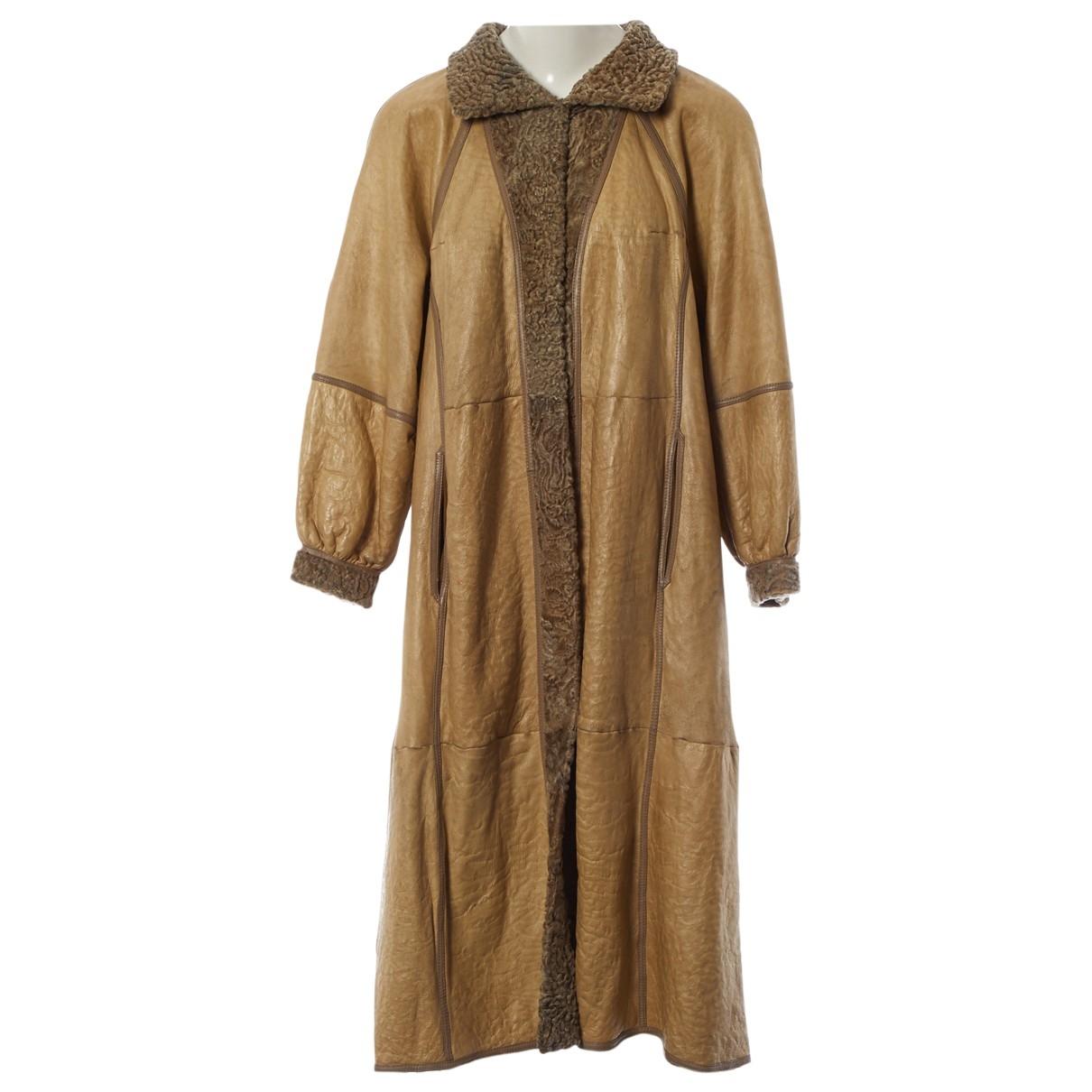 Birger Christensen - Manteau   pour femme en cuir - beige