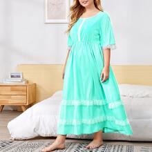 Plus Contrast Lace Tiered Layer Night Dress