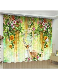 High Quality 3D Colorful Flowers and Elks Printed Hooked Curtain for Living Room Bedroom 200g/m² Polyester 70% Shading Rate and UV Rays Environmentall