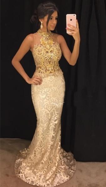 Vestido de fiesta sin mangas con cuello alto y champan y encaje dorado Vestido de noche sexy de sirena barata FB0240