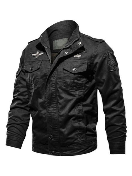 Milanoo Mens Jacket Fashionable Stand Collar Jacket For Fall