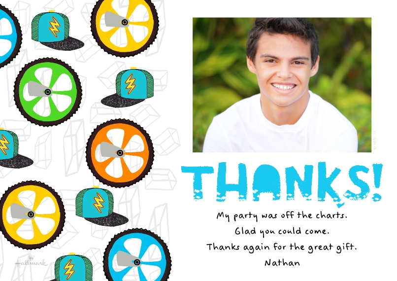 Kids Mail-for-Me Premium 5x7 Flat Card, Card & Stationery -Bike Wheel Thanks