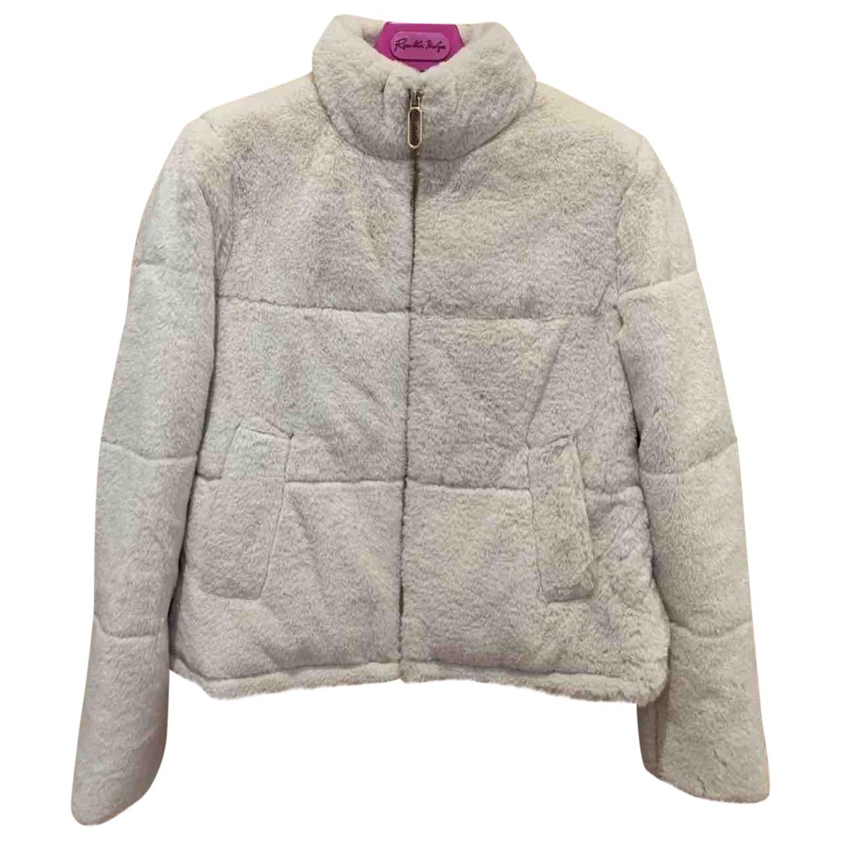Zara - Manteau   pour femme en fourrure synthetique - ecru