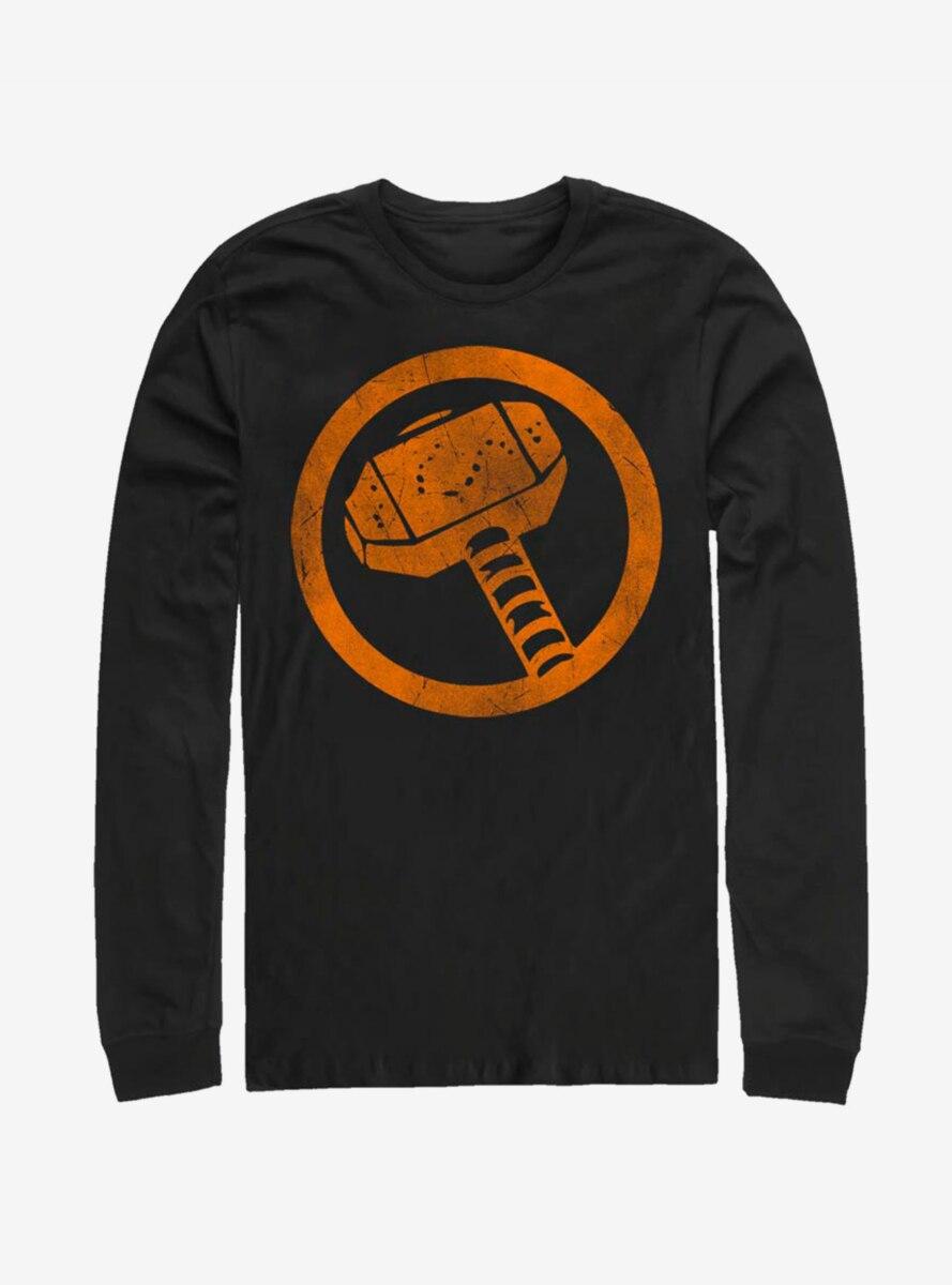 Marvel Thor Orange Retro Symbol Long-Sleeve T-Shirt