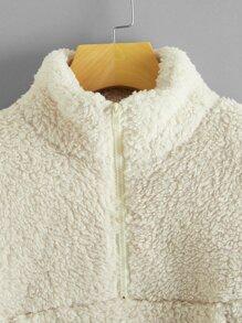 Solid Half Zip Crop Teddy Sweatshirt