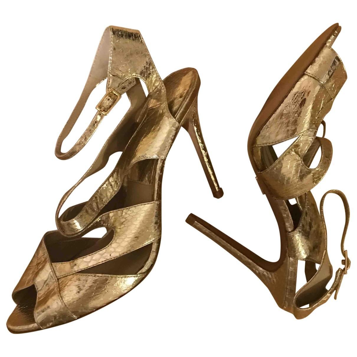 Michael Kors - Sandales   pour femme en cuir - dore