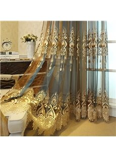 Upscale Polyester Cotton and Organza European Classical Custom Curtain Sets for Living Room Bedroom