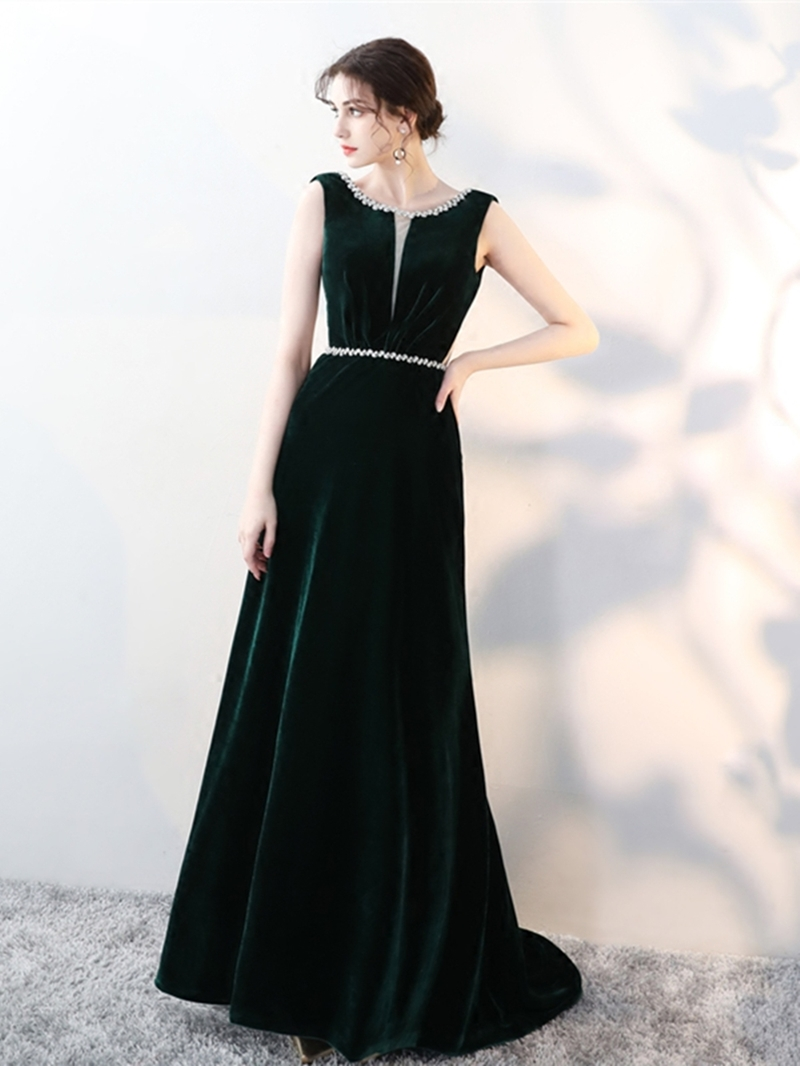 Ericdress A Line Velvet Backless Evening Dress With Beadings