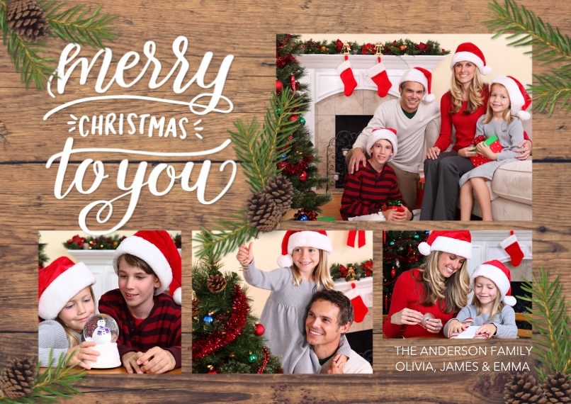 Christmas Photo Cards 5x7 Cards, Premium Cardstock 120lb, Card & Stationery -Christmas Rustic Pine Branches Collage