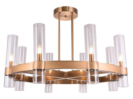 BDC03C35BR 8-Light Ceiling Fixture with Metal and Glass Materials and 60 Watts in Antique Bronze