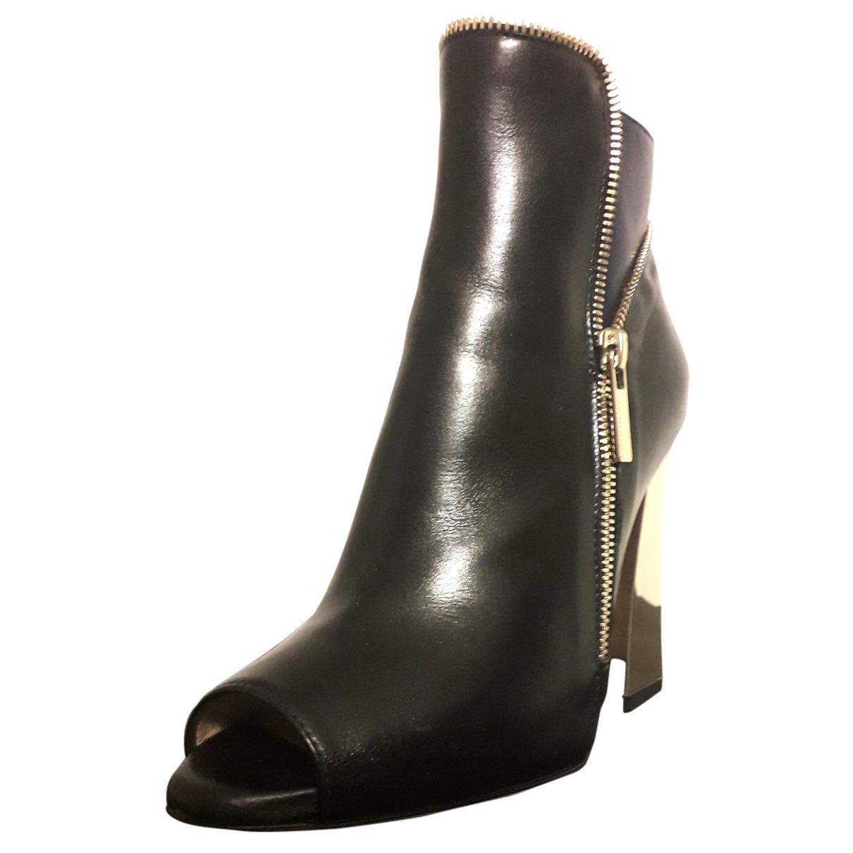 Elisabetta Franchi - Boots   pour femme en cuir - noir