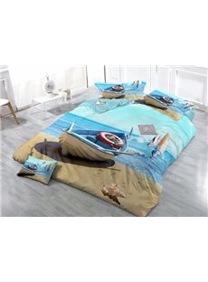 Wooden Boat on Beach Wear-resistant Breathable High Quality 60s Cotton 4-Piece 3D Bedding Sets