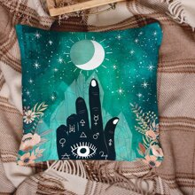 1pc Hand & Moon Print Cushion Cover Without Filler