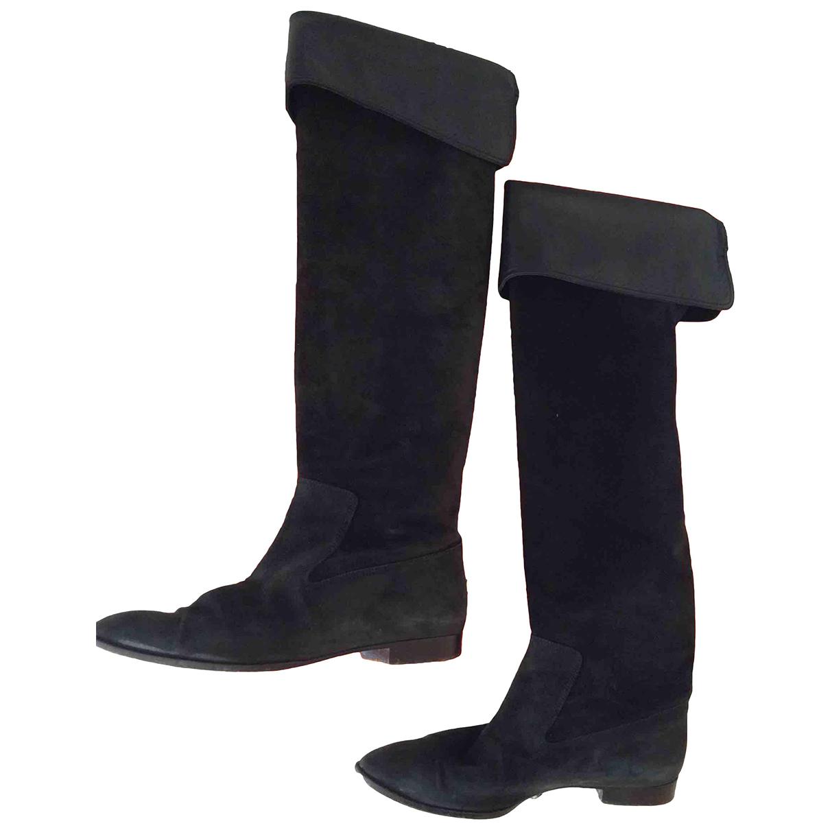 Hermes - Bottes   pour femme en suede - noir