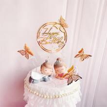 4 piezas decoracion de pastel de cumpleaños