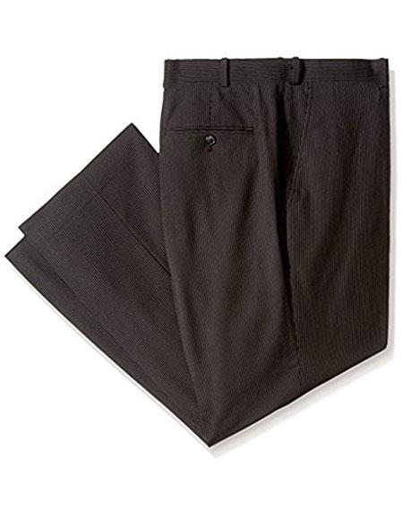 Men's Black Pinstripe ~ Stripe Flat Front Formal Dressy Pant