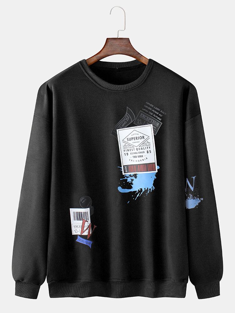 Mens Tag Pattern Print Cotton Crew Neck Casual Sweatshirt