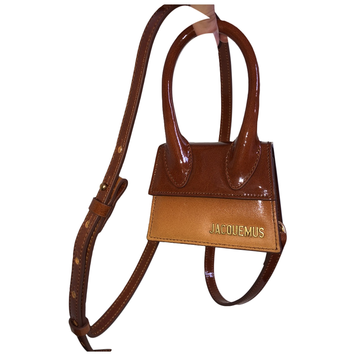 Jacquemus Chiquito Camel Patent leather handbag for Women \N