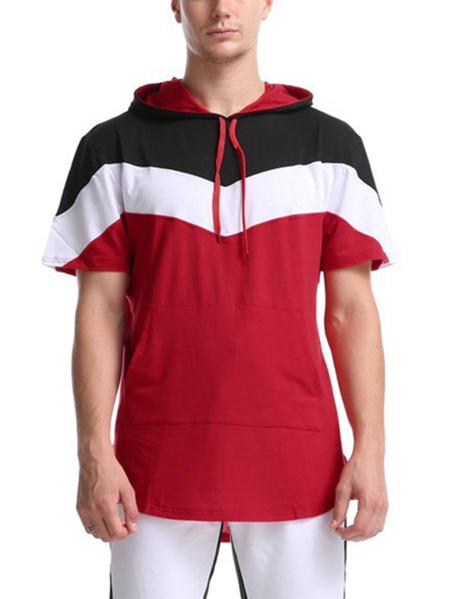 Yoins Men Tricolor Patchwork Hoodie Drawstring Fashion Casual Hooded Sweatshirt