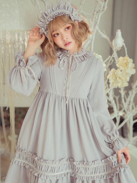Milanoo Classic Lolita One Piece Dress Solid Color Long Sleeve Vintage Lolita One Piece Dress
