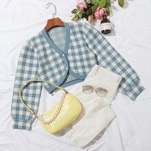 Crop Strickjacke mit Knopfen vorn und Karo Muster