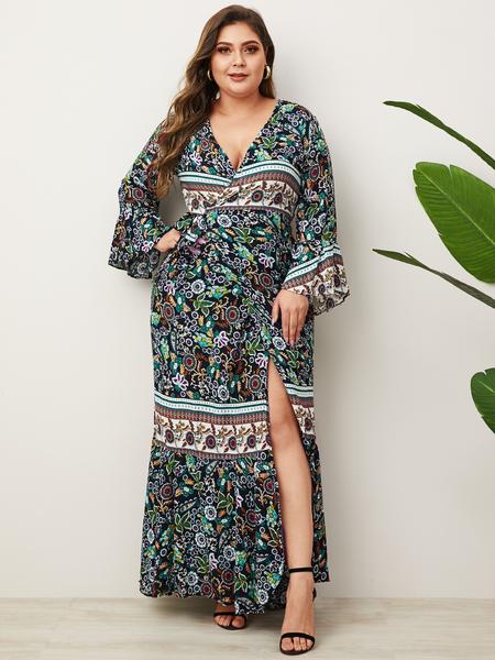 Yoins Plus Size Green Slit Design Floral Print Deep V Neck Dress