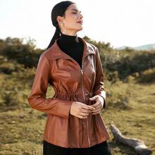 PU Leder Mantel mit Kordelzug auf Taille und Reissverschluss vorn