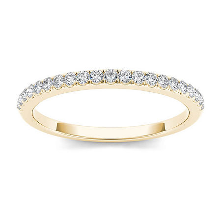 2MM 1/6 CT. T.W. Genuine White Diamond 10K Gold Wedding Band, 6 1/2 , No Color Family