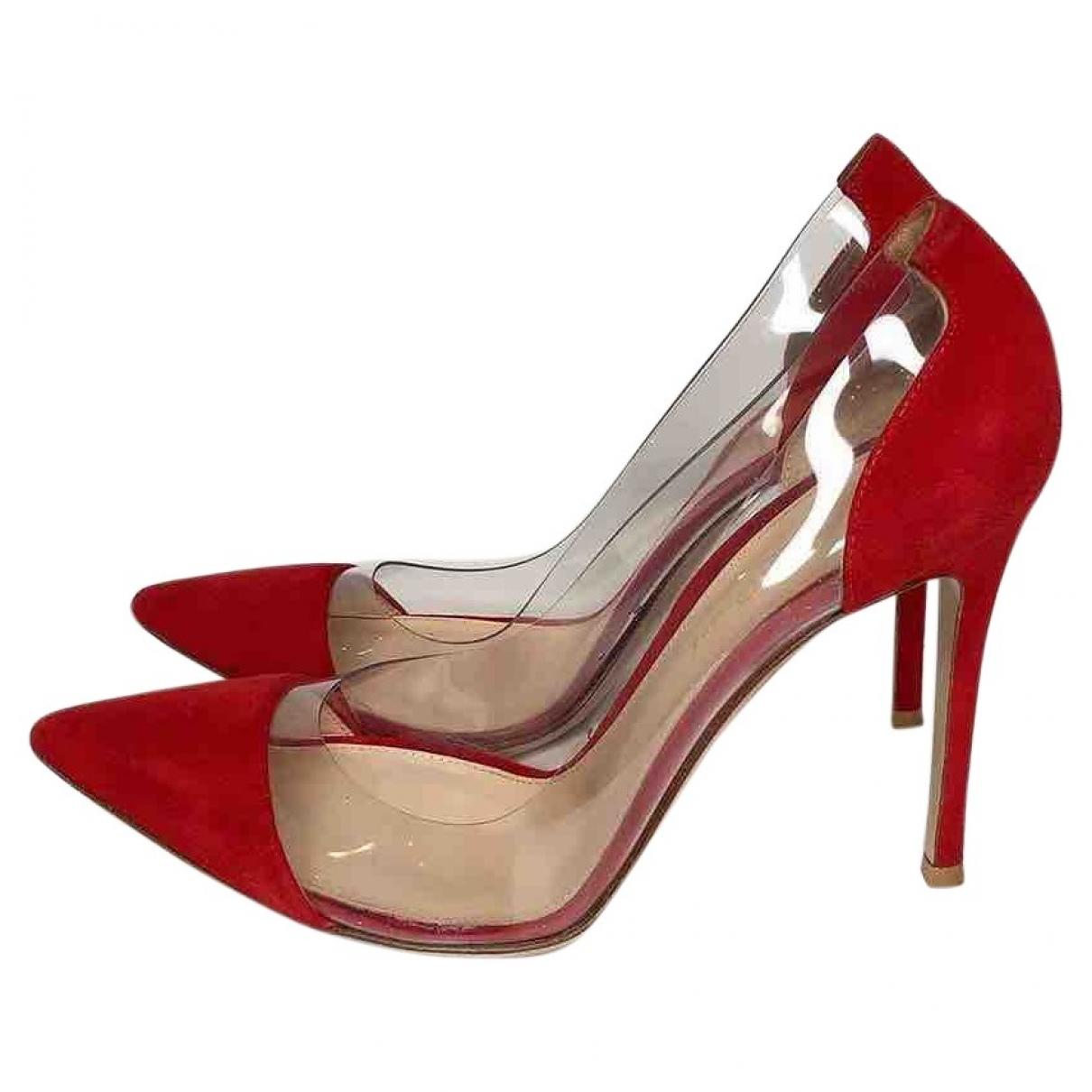 Gianvito Rossi - Escarpins Plexi pour femme en suede - rouge