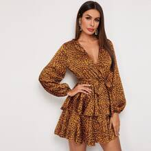 Surplice Neck Balloon Sleeve Layered Leopard Dress
