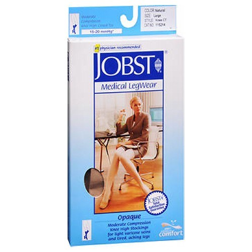Jobst Opaque Compression Stockings 15-20 Closed Toe Knee Highs Silky Beige Large each by Jobst