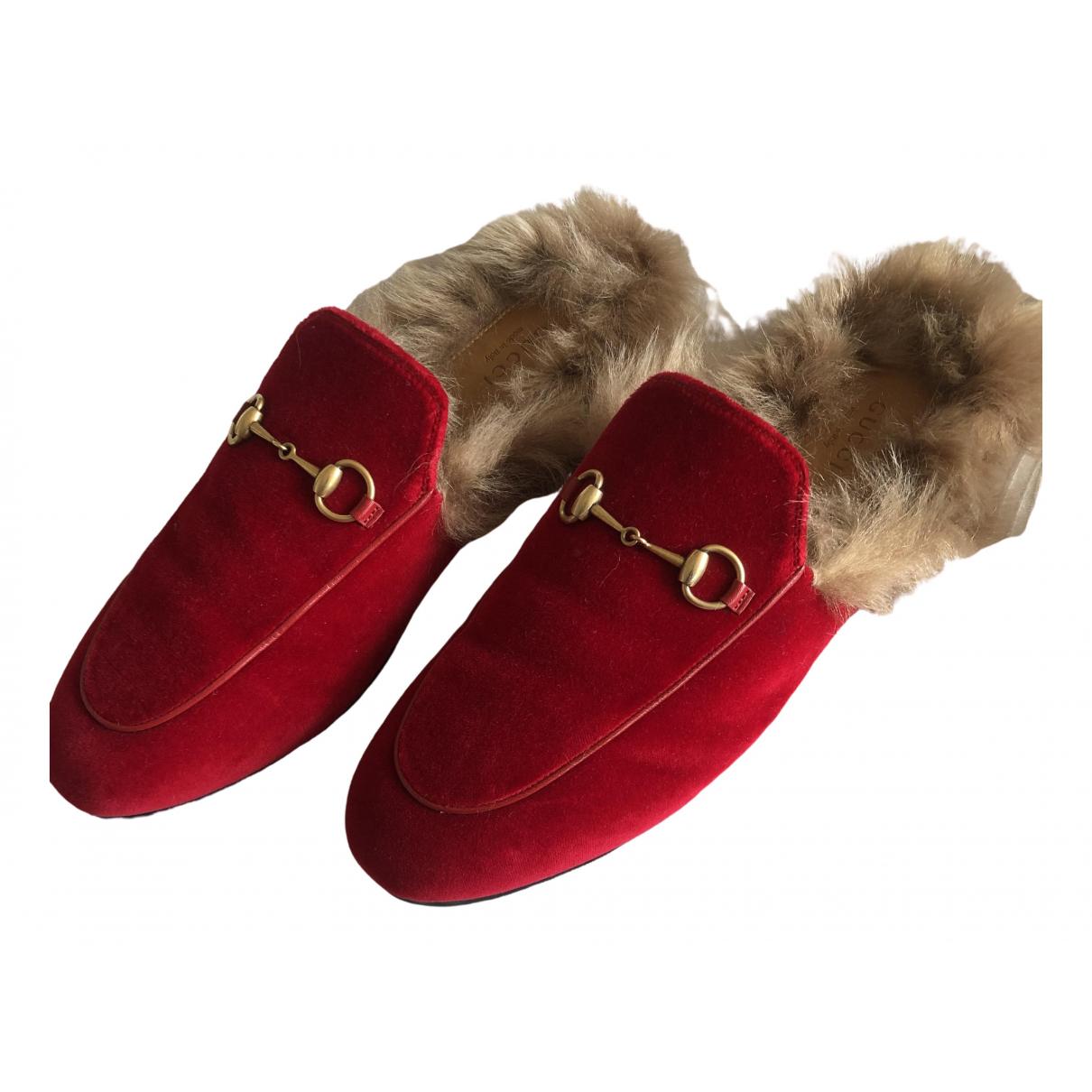 Gucci - Sabots   pour femme en velours - rouge