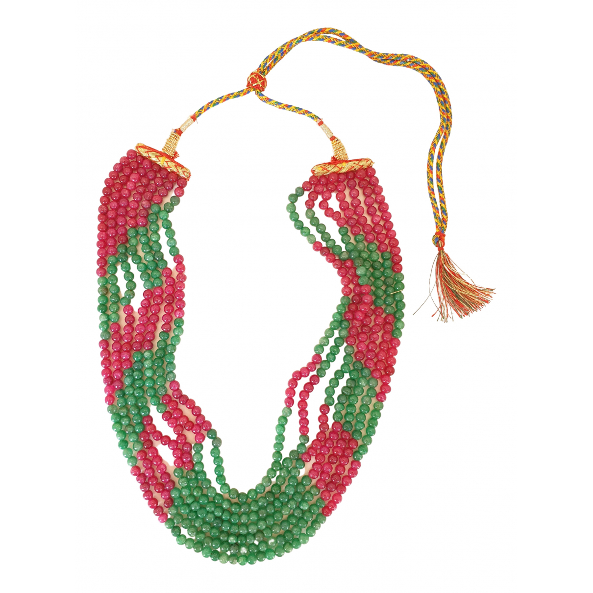 Non Signé / Unsigned Emeraude Multicolour Pearls necklace for Women N
