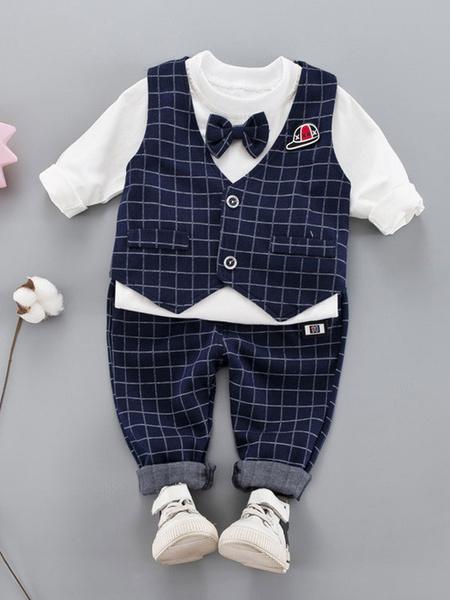 Milanoo Boys Outfit Deep Blue Plaid Pants Waistcoat Bows T Shirt Top 3 Piece Set