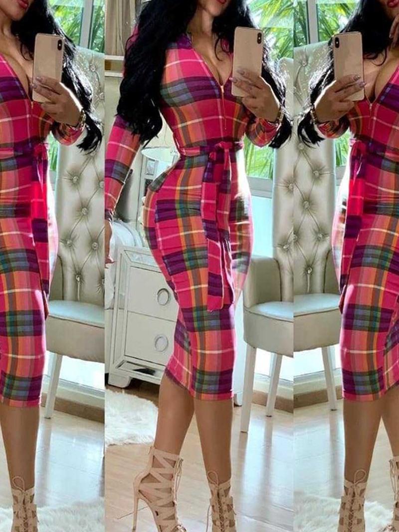 Ericdress Stand Collar Mid-Calf Print Regular Pencil Dress