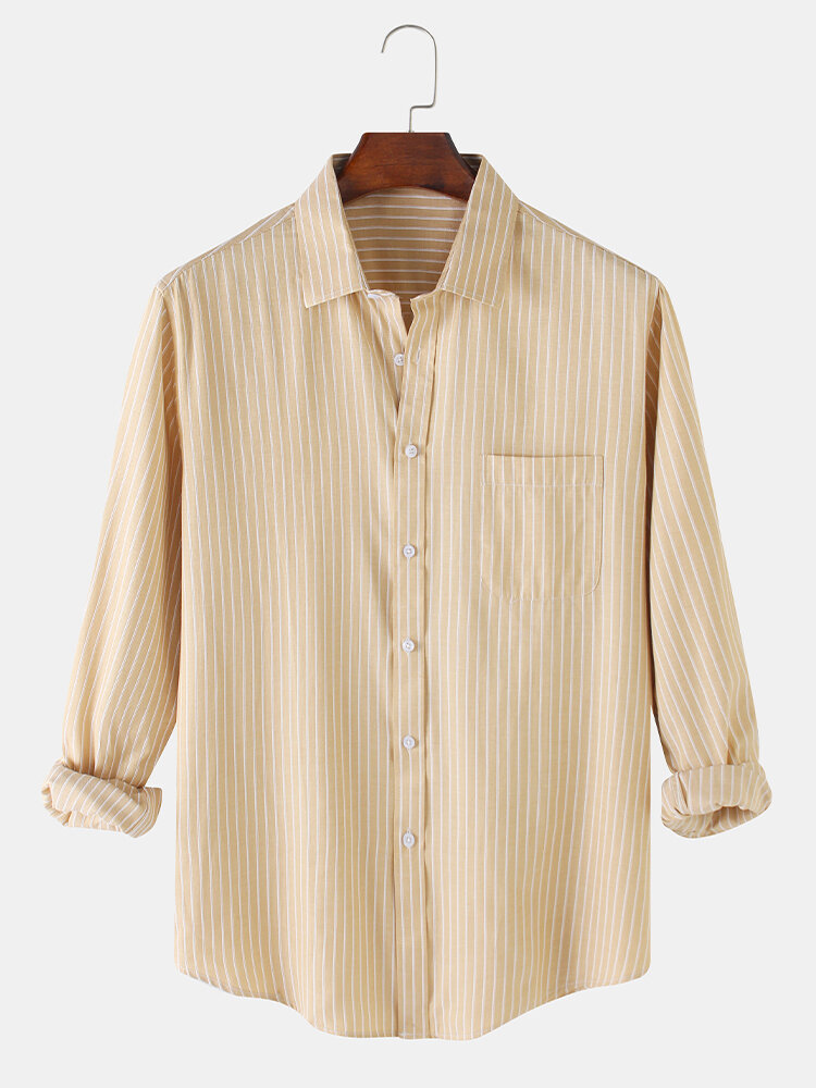 Mens Striped & Plain Daily Fit Simple Long Sleeve Shirts With Pocket
