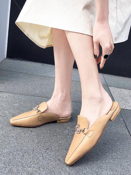 Milanoo Black Mules Women Pointed Toe Slip-On Flat Slide Shoes