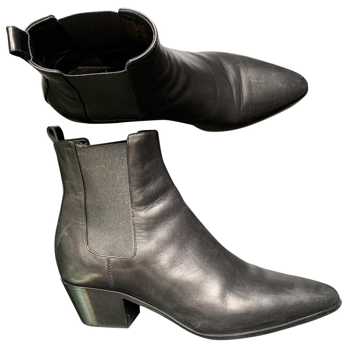Saint Laurent \N Black Leather Ankle boots for Women 36 EU