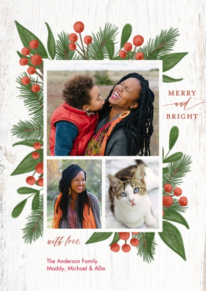 Christmas Photo Cards Flat Glossy Photo Paper Cards with Envelopes, 5x7, Card & Stationery -Christmas Merry Bright Berries by Tumbalina
