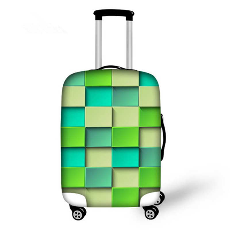 Fabulous Grid Pattern 3D Painted Luggage Cover